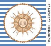 sun in rope frame on striped... | Shutterstock .eps vector #1233039523