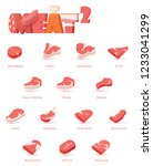 vector beef cuts  used for...   Shutterstock .eps vector #1233041299