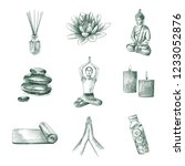 hand drawn yoga elements and... | Shutterstock .eps vector #1233052876