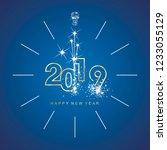 happy new year 2019 midnight... | Shutterstock .eps vector #1233055129