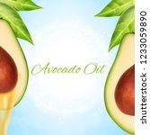 fresh avocado slice with oil.... | Shutterstock .eps vector #1233059890