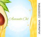 fresh avocado slice with oil.... | Shutterstock .eps vector #1233059896