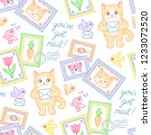 cute cat  stamps  envelopes and ... | Shutterstock .eps vector #1233072520