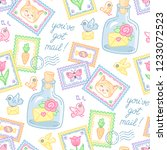 cute stamps  envelopes and... | Shutterstock .eps vector #1233072523