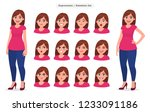 set of female facial expression.... | Shutterstock .eps vector #1233091186
