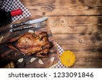 happy thanksgiving day. roasted ... | Shutterstock . vector #1233091846