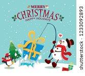vintage christmas poster design ... | Shutterstock .eps vector #1233092893
