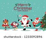 vintage christmas poster design ... | Shutterstock .eps vector #1233092896