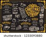 christmas menu template for... | Shutterstock .eps vector #1233093880
