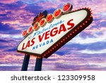 Stock photo welcome to las vegas neon sign on sunset sky 123309958