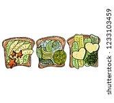 avocado toast. fresh toasted... | Shutterstock .eps vector #1233103459