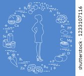 pregnant woman and foods rich...   Shutterstock .eps vector #1233107116