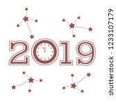 christmas and new year 2019... | Shutterstock .eps vector #1233107179