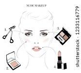 makeup tutorial  classic makeup ... | Shutterstock .eps vector #1233116779