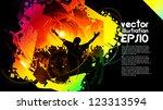 crowd of dancing people | Shutterstock .eps vector #123313594