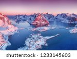 aerial view at the lofoten... | Shutterstock . vector #1233145603