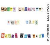 text happy new year  merry... | Shutterstock . vector #1233149209