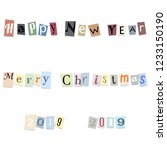 text happy new year  merry... | Shutterstock . vector #1233150190