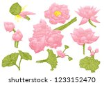 collection of hand drawn lotus.  | Shutterstock .eps vector #1233152470