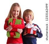 portrait of two happy children... | Shutterstock . vector #1233162499