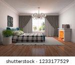 bedroom interior. 3d... | Shutterstock . vector #1233177529