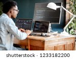 young african male programmer... | Shutterstock . vector #1233182200