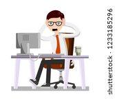 man holding his head. broken... | Shutterstock .eps vector #1233185296