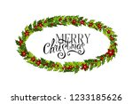 christmas decorations withholly ... | Shutterstock .eps vector #1233185626