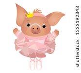 cute cartoon pig ballerina.... | Shutterstock .eps vector #1233192343