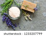 lavender flowers and soap... | Shutterstock . vector #1233207799