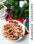 bruschetta with prosciutto on... | Shutterstock . vector #1233221953