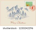 christmas postcard in vintage...   Shutterstock .eps vector #1233242296