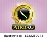 gold shiny emblem with combat... | Shutterstock .eps vector #1233250243
