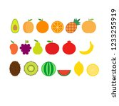 vector set of fruits such as... | Shutterstock .eps vector #1233255919