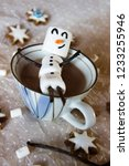 adorable and cute snowman is... | Shutterstock . vector #1233255946