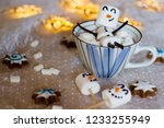 adorable and cute snowman is... | Shutterstock . vector #1233255949