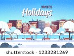 city winter park wooden bench... | Shutterstock .eps vector #1233281269