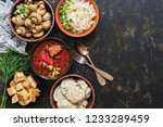 a variety of russian food ... | Shutterstock . vector #1233289459