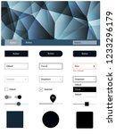 dark blue vector ui kit in...