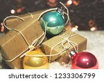 christmas balls and gifts on... | Shutterstock . vector #1233306799
