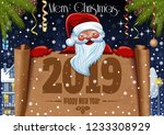 christmas and new year 2019.... | Shutterstock .eps vector #1233308929