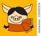 emoji with brunette pig woman... | Shutterstock .eps vector #1233322276