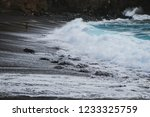 sea waves hitting a beach with... | Shutterstock . vector #1233325759
