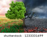 ecological concept with tree... | Shutterstock . vector #1233331699