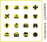 sunny icons set with binoculars ...