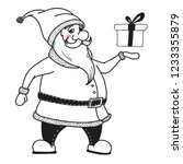santa claus is holding a gift.... | Shutterstock .eps vector #1233355879