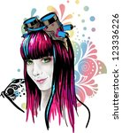 pretty girl wearing pilot... | Shutterstock . vector #123336226
