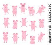 A Set Of Cute Pig Characters I...