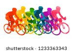 colorful poster with cyclists... | Shutterstock .eps vector #1233363343