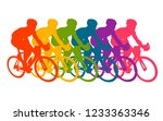 colorful poster with cyclists... | Shutterstock .eps vector #1233363346